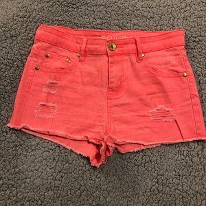 Hot pink high waisted shorts
